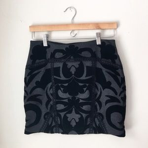 Free People Black Velvet Damask Mini Skirt
